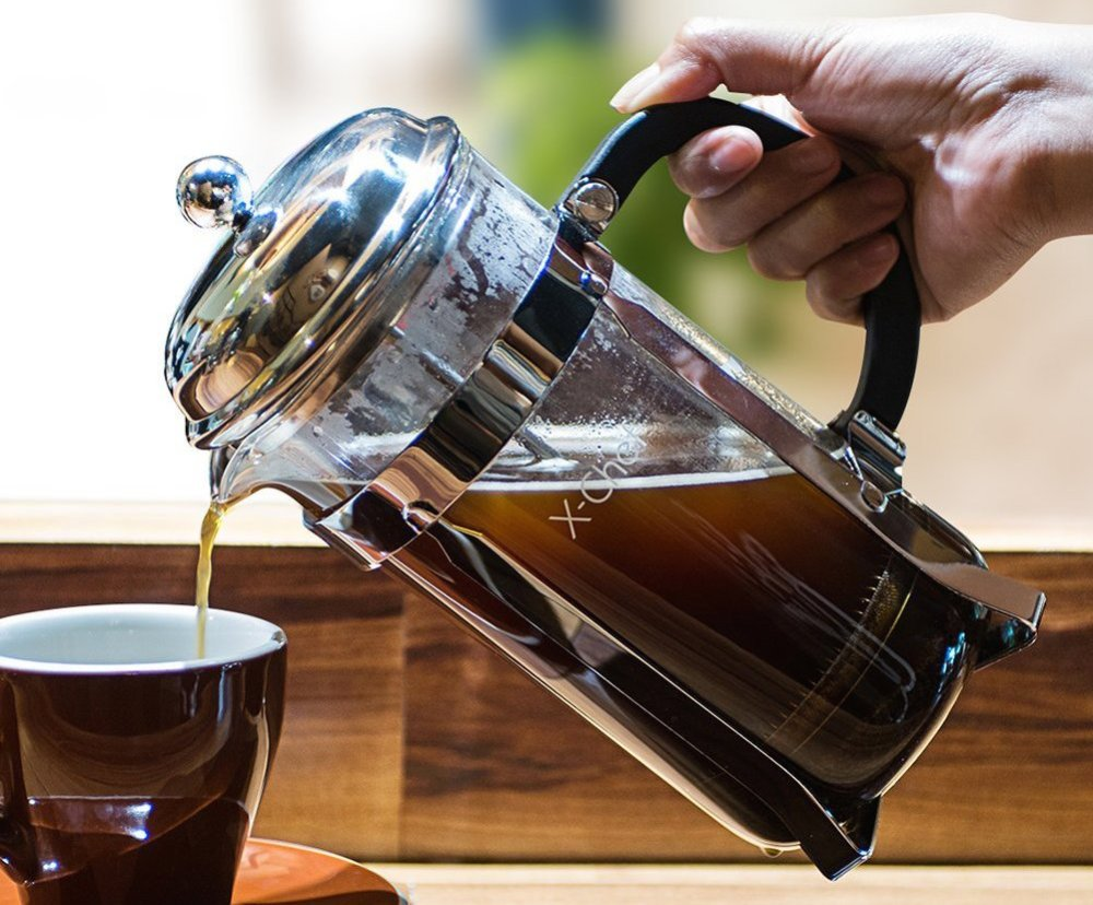 X-Chef 1000ml Glass French Press w: Stainless Steel Holder