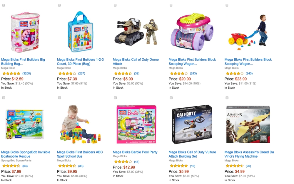 Amazon Gold Box Mega Bloks construction toys 50% or more off