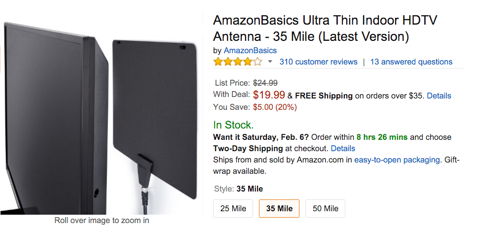 AmazonBasics Ultra Thin Indoor HDTV Antenna Amazon