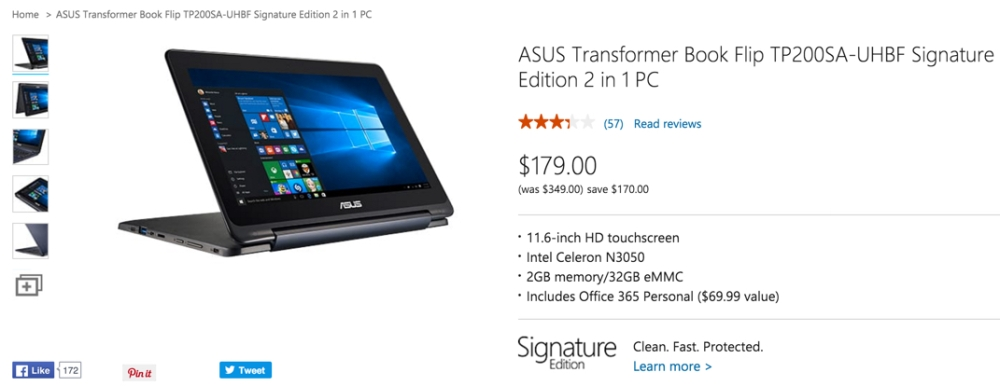 Asus Transformer Book Flip Signature Edition Touchscreen Laptop