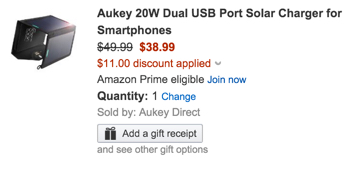 Aukey 20W Dual USB Port Solar Charger for Smartphones