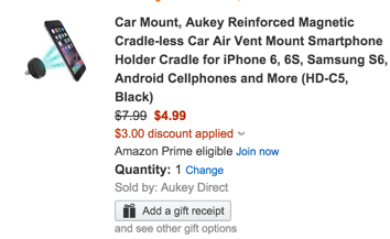 Aukey Reinforced Magnetic Cradle-less Car Air Vent Mount Smartphone