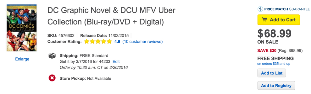 DC Graphic Novel & DCU MFV Uber Collection (Blu-ray:DVD + Digital)