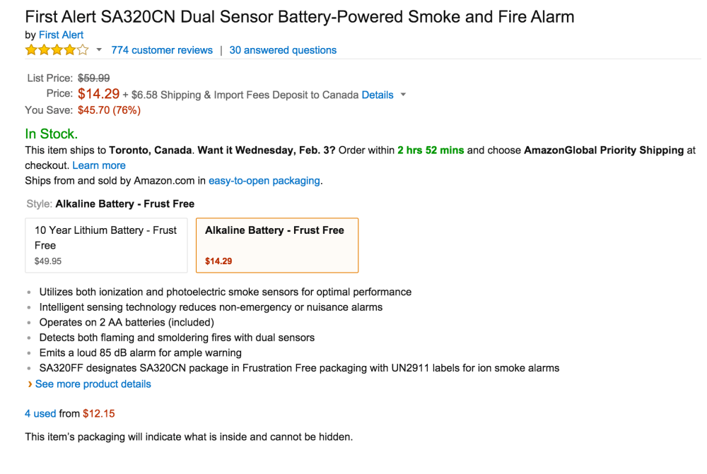 First Alert Dual Sensor Battery-Powered Smoke and Fire Alarm (SA320CN)-2
