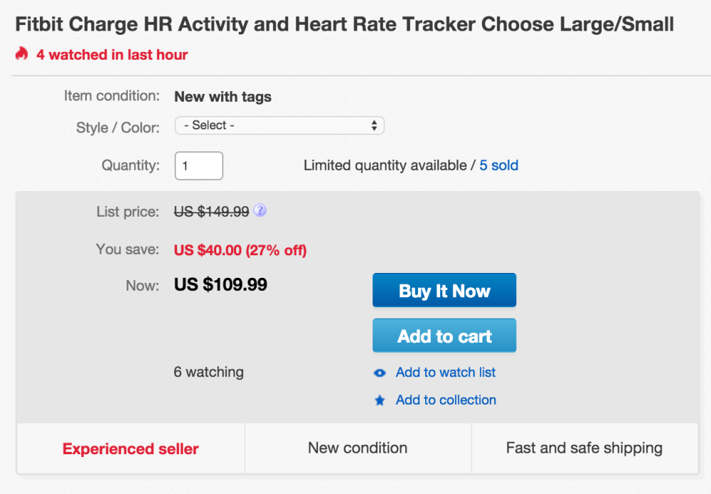 Fitbit Charge HR Activity and Heart Rate Tracker