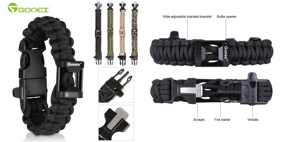 Gonex-550 Military Survival Paracord bracelet with fire starter (multiple colors)-3