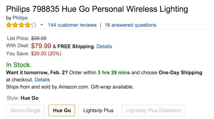 Hue Go Personal Wireless Lighting Amazon