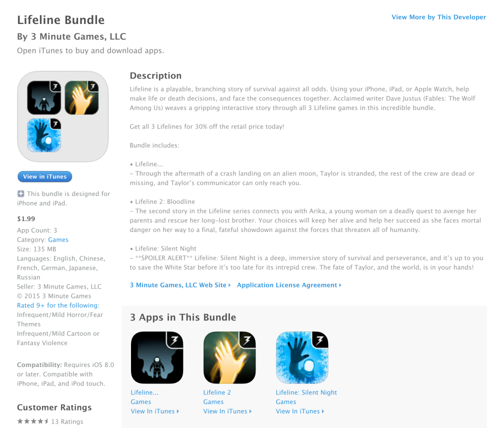 Lifeline 2 and Lifeline Silent Night on iOS are down to $1