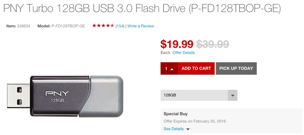 PNY Turbo 128GB USB 3.0 Flash Drive