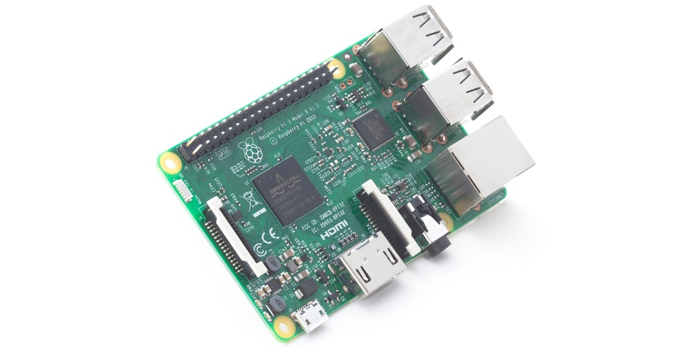 Raspberry Pi 3 shown with compatible 40-pin connector