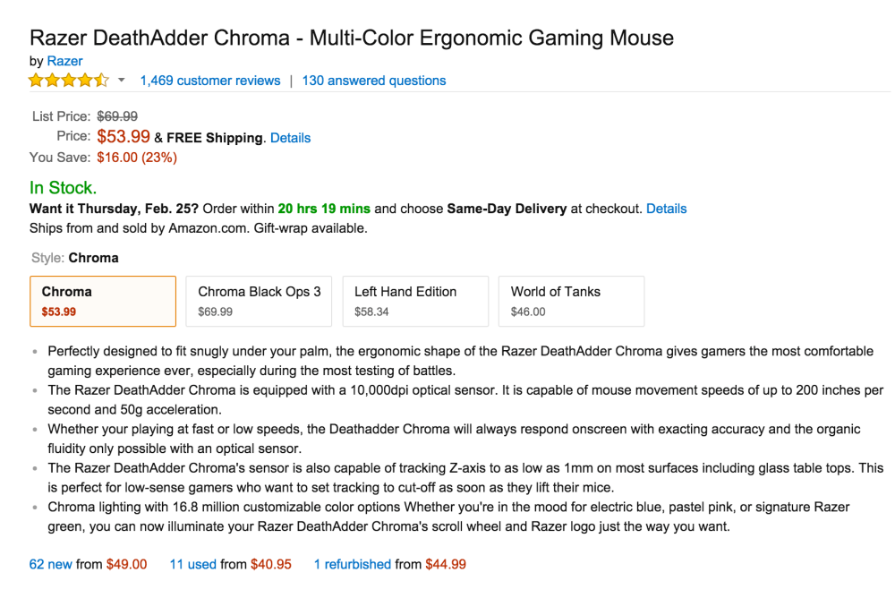 Razer DeathAdder Chroma - Multi-Color Ergonomic Gaming Mouse-3