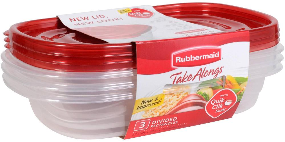 Rubbermaid Take Alongs Food Storage Container, Divided Dishes, Clear, Set of 3-sale-01