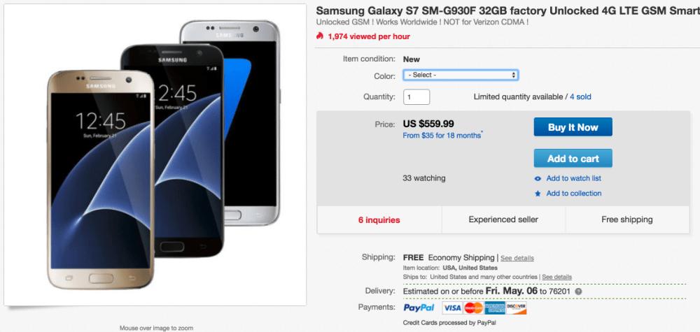 Samsung Galaxy S7 SM G930F 32GB Factory Unlocked 4G LTE GSM Smartphone New | eBay 2016-04-29 11-13-51