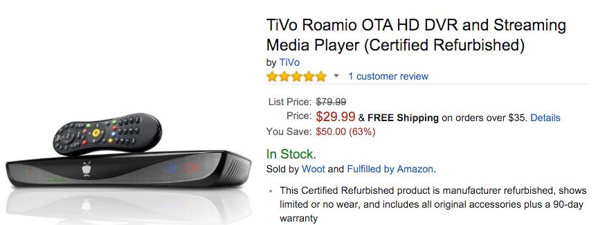 TiVo Roamio OTA HD DVR and Streaming Media Player Amazon
