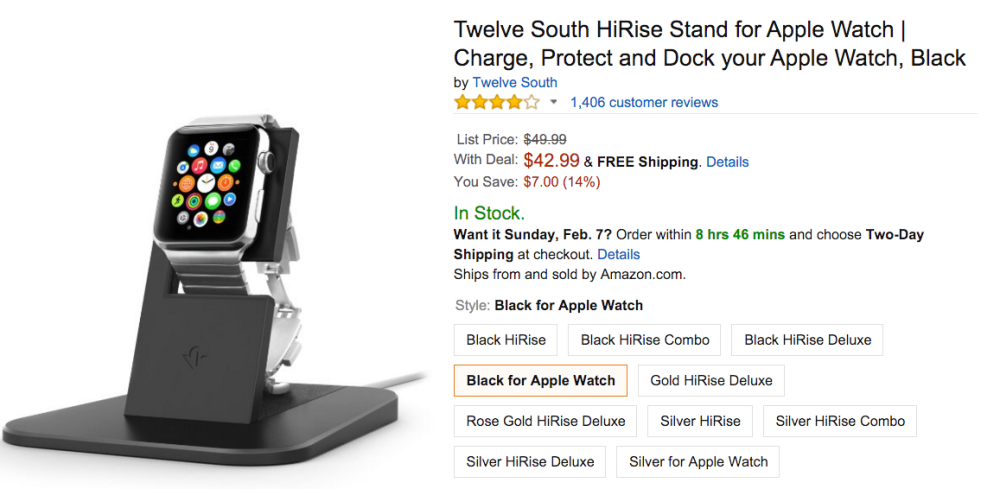 Twelve South HiRise Stand for Apple Watch Amazon