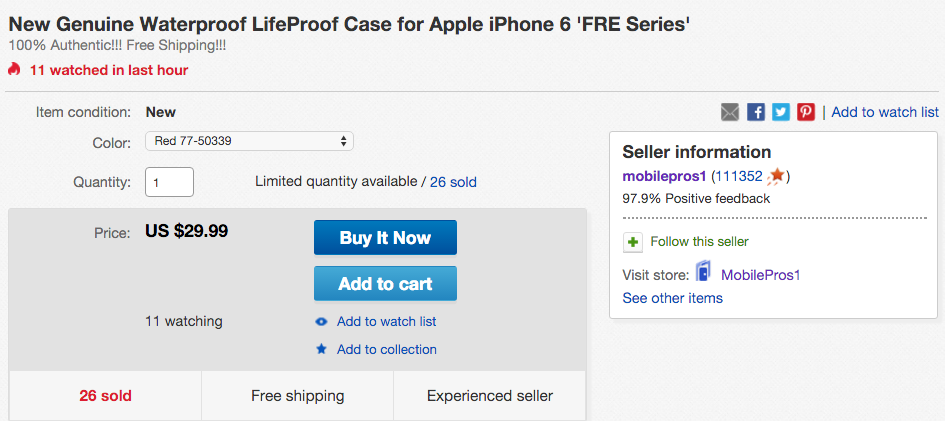Waterproof LifeProof Case for Apple iPhone 6