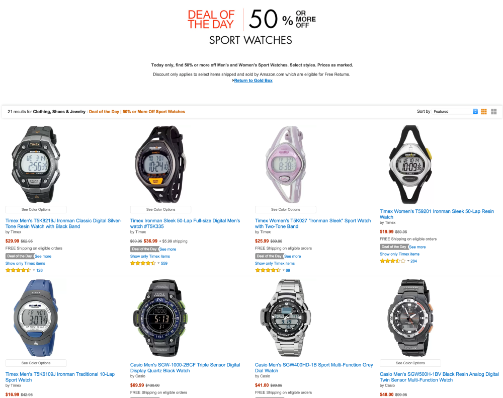 50% or more off sports watches from Timex, Casio and Armitron-5