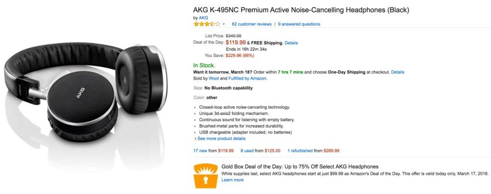 AKG K-495NC Premium Active Noise-Cancelling Headphones black