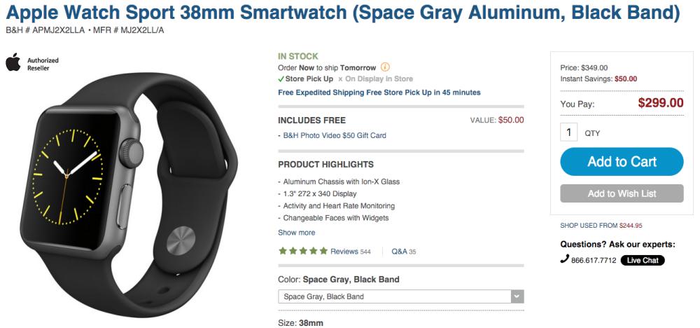 Apple Watch Sport 38mm Smartwatch