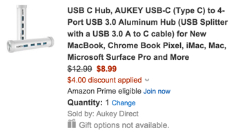 AUKEY USB-C to 4-Port USB 3.0 Aluminum Hub