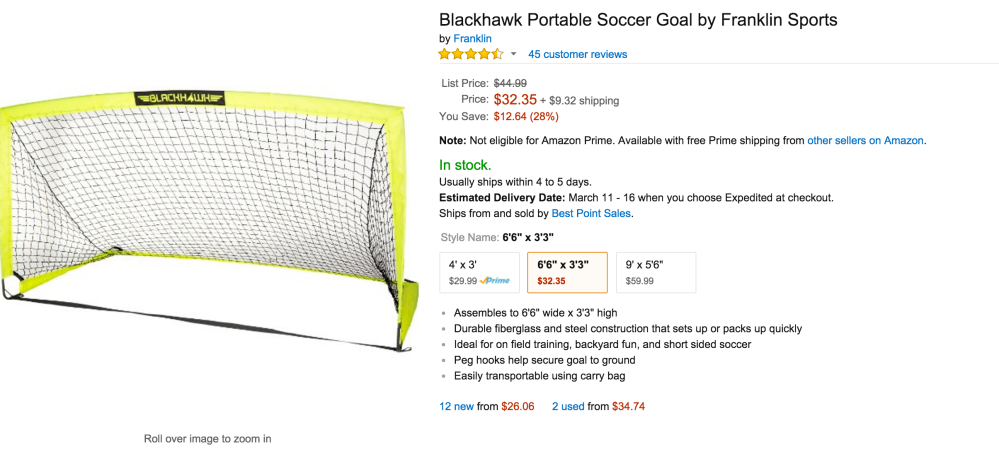 Blackhawk Portable Soccer Goal:Net by Franklin Sports-sale-02