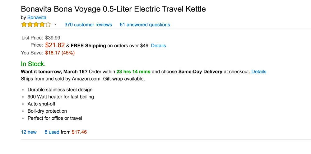 Bonavita Bona Voyage 0.5-Liter Electric Travel Kettle-3