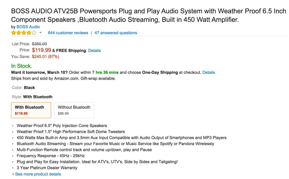 Boss Audio ATV25B Powersports Plug and Play Audio System-3