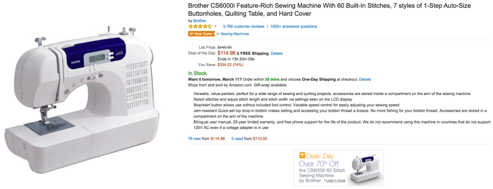 Brother CS6000i Feature-Rich Sewing Machine With 60 Built-In Stitches, 7 styles of 1-Step Auto-Size Buttonholes, Quilting Table, and Hard Cover (B000JQM1DE)