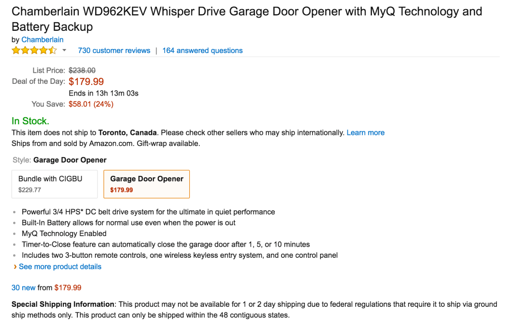 Chamberlain Whisper Drive Garage Door Opener with MyQ Technology and Battery Backup-sale-02