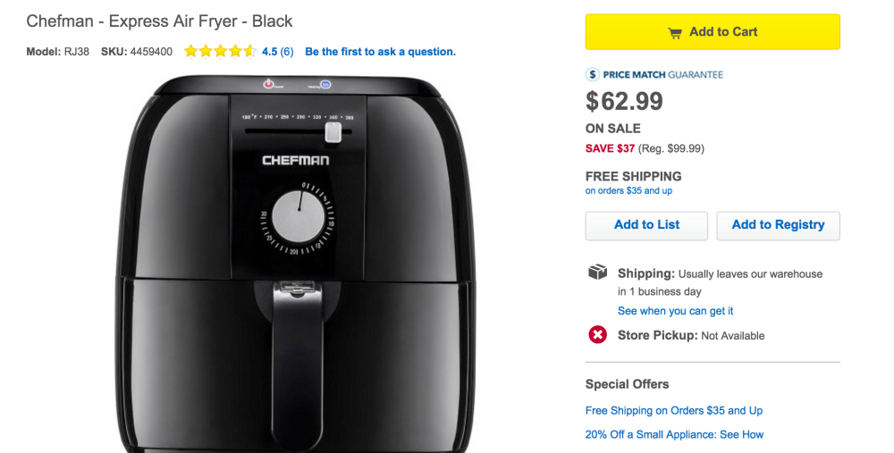 Chefman Express Air Fryer in Black (RJ38)-3