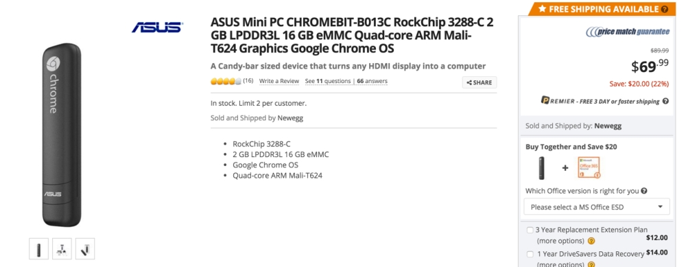 Chromebit at newegg