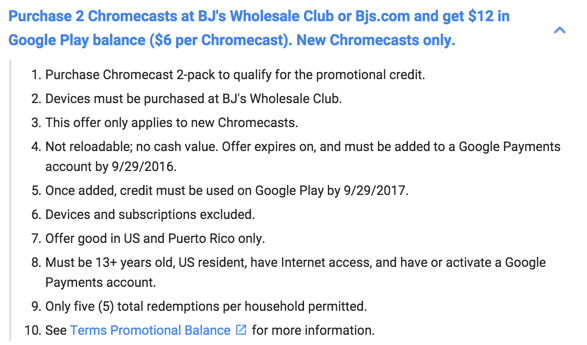 Chromecast terms