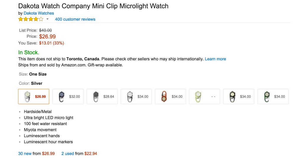 Dakota Watch Company Mini Clip Microlight Watch-2