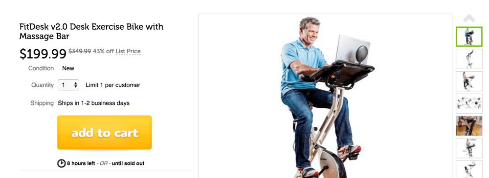 FitDesk v2.0 Desk Exercise Bike with Massage Bar-3