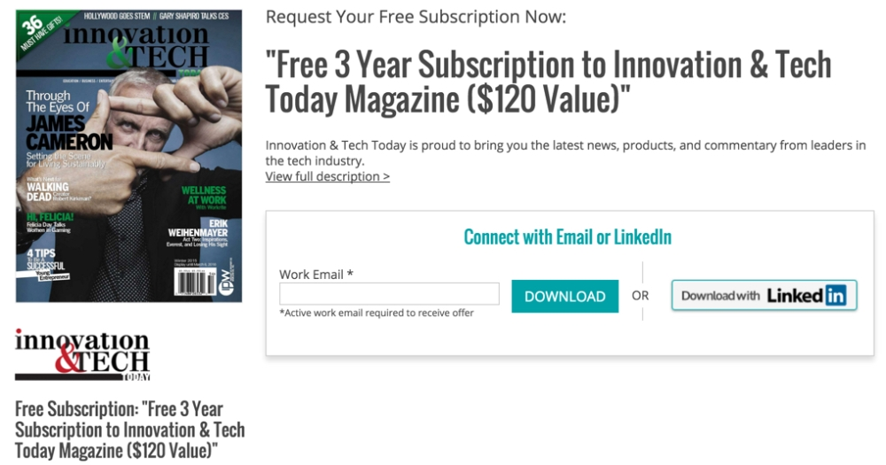 Free 3 Year Subscription to Innovation & Tech Today Magazine ($120 Value)