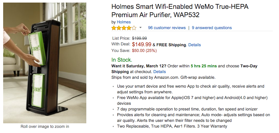 Holmes Smart Wifi-Enabled WeMo