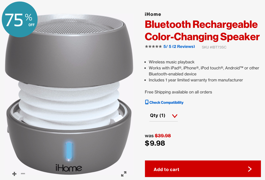 iHome Bluetooth Rechargeable Color Changing Speaker verizon
