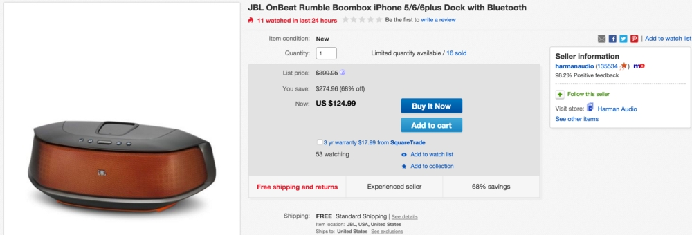 JBL OnBeat Rumble Bluetooth Speaker with Lightning Connector