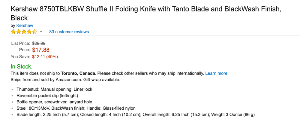 Kershaw Shuffle II Folding Knife with Tanto Blade and BlackWash Finish-6