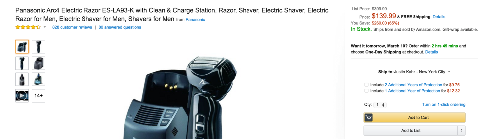 Men's Panasonic Arc4 Electric Razor with Clean & Charge Station (ES-LA93-K)-2