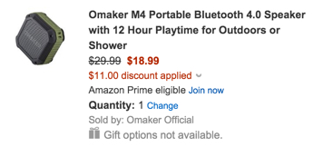 Omaker M4 Portable Bluetooth 4.0 Speaker with 12 Hour Playtime for Outdoors or Shower