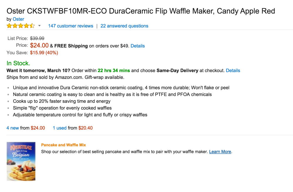 Oster DuraCeramic Flip Waffle Maker (CKSTWFBF10MR-ECO)-2
