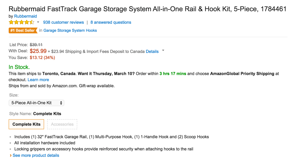 Rubbermaid FastTrack Garage Storage System All-in-One Rail & Hook Kit (1784461)-2