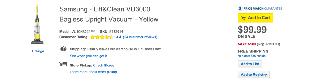Samsung - Lift&Clean VU3000 Bagless Upright Vacuum - Yellow-4