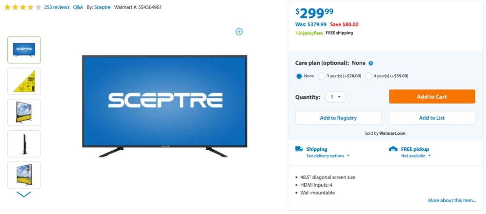 Sceptre U505CV-U 49%22 4K Ultra HD 2160p 60Hz LED HDTV