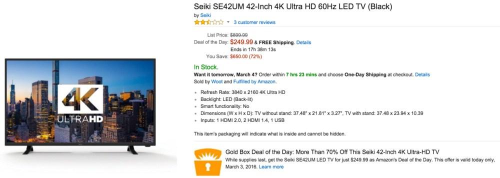 Seiki SE42UM 42-Inch 4K Ultra HD 60Hz TV