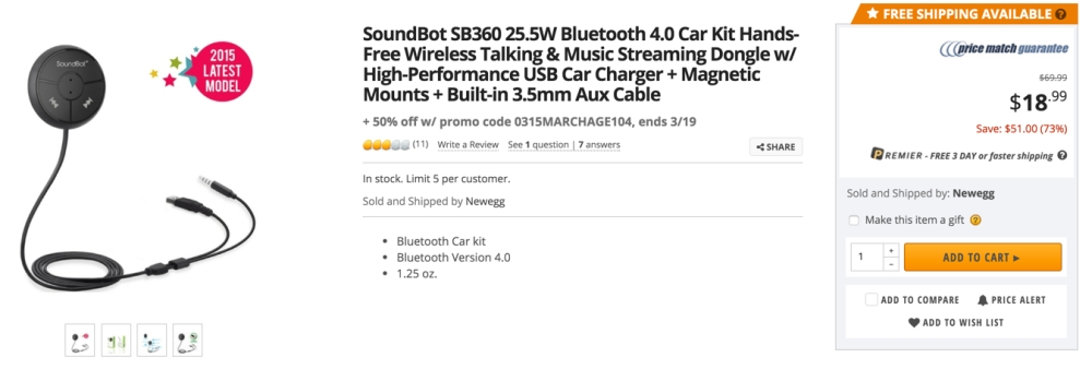 soundbot bt car adapter