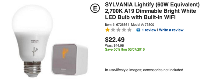 SYLVANIA Lightify (60W Equivalent) 2,700K A19 Dimmable Bright White LED Bulb with Built-In WiFi