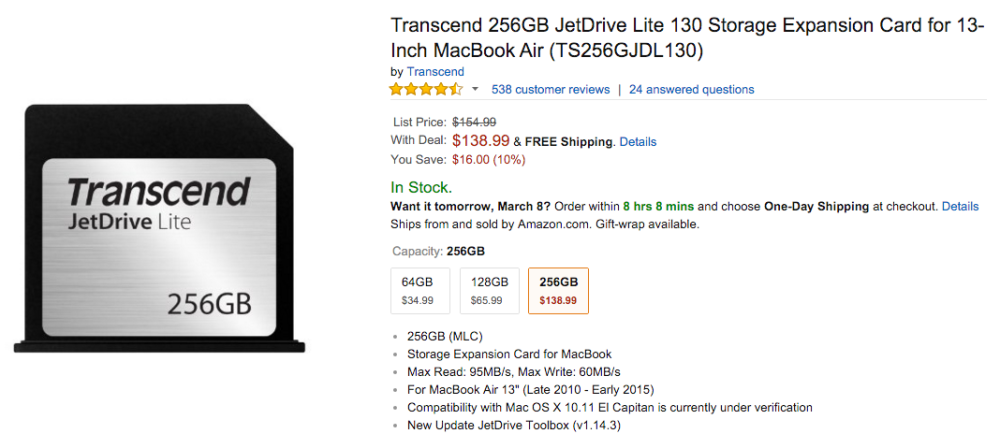 Transcend 256GB JetDrive Lite 130 Storage Expansion Card for 13-Inch MacBook Air
