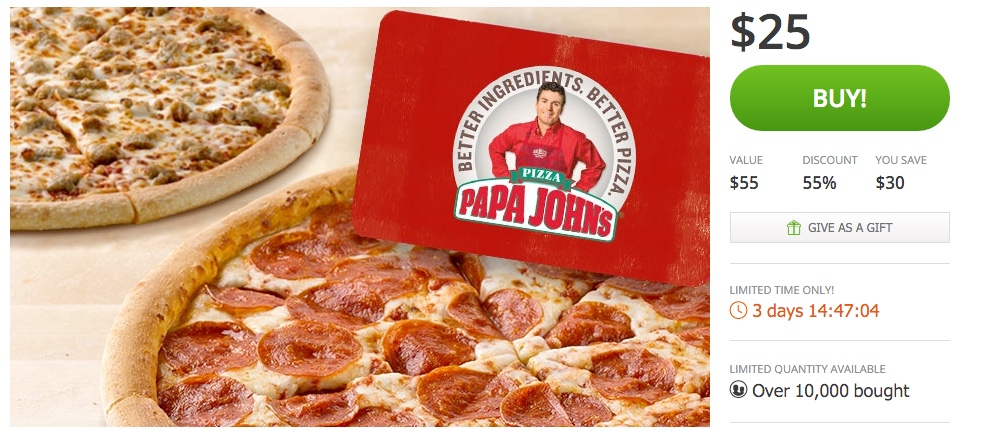 Two Free Large One-Topping Pizzas with Purchase of $25 eGift Card at Papa John's